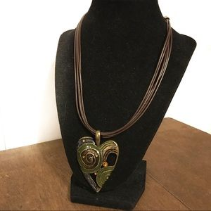 Statement Enameled Heart Necklace Earthtones